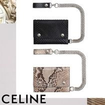 CELINE Chain Plain Other Animal Patterns Leather Folding Wallets