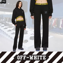Off-White Casual Style Plain Cotton Long Handmade Pants