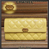 CHANEL BOY CHANEL Unisex Lambskin Plain Long Wallets