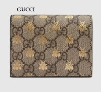 GUCCI GG Supreme Other Animal Patterns Leather Folding Wallets