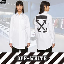 Off-White Casual Style Long Sleeves Plain Cotton Medium Handmade