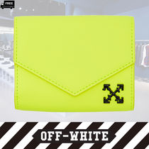 Off-White Plain Leather Handmade Folding Wallets
