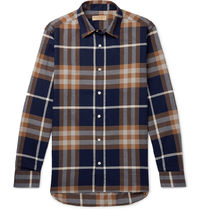 Burberry Tartan Unisex Street Style Long Sleeves Cotton Shirts