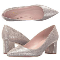 kate spade new york Plain Leather Block Heels Party Style