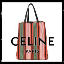 CELINE Stripes Casual Style Canvas A4 Totes