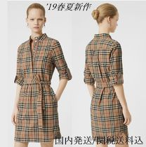 Burberry Stripes Other Check Patterns Long Sleeves Cotton Medium