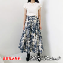 Flared Skirts Other Animal Patterns Cotton Long Office Style