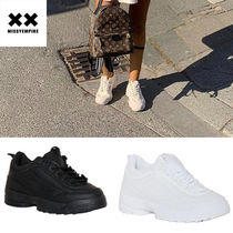 MISSY EMPIRE Platform Round Toe Lace-up Casual Style Street Style Plain
