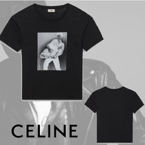 CELINE Crew Neck Monogram Unisex Cotton Short Sleeves