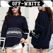 Off-White Crew Neck Casual Style Unisex Street Style Bi-color Cotton