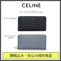 CELINE Zipped Unisex Plain Leather Long Wallets