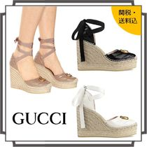 GUCCI Round Toe Casual Style Blended Fabrics Plain Leather