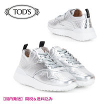 TOD'S Round Toe Rubber Sole Casual Style Tassel Plain Leather