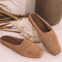 SPELL Square Toe Casual Style Plain Leather Handmade