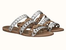 HERMES Wedge Open Toe Suede Chain Plain Handmade Footbed Sandals