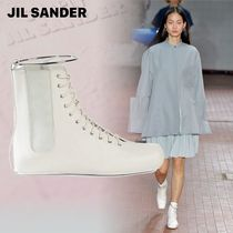 Jil Sander Lace-up Casual Style Sheepskin Plain Lace-up Boots