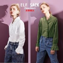 ELF SACK Casual Style Long Sleeves Plain Cotton Shirts & Blouses