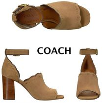 Coach Open Toe Studded Leather Chunky Heels Peep Toe Pumps & Mules