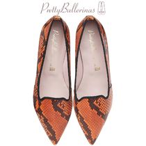 Pretty Ballerinas Leather Python Elegant Style Pointed Toe Shoes