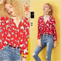 ELF SACK Casual Style Chiffon Long Sleeves Other Animal Patterns