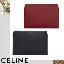 CELINE Unisex Calfskin Bag in Bag A4 Plain Clutches