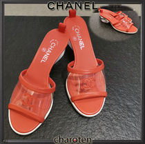CHANEL ICON Open Toe Blended Fabrics Bi-color Leather Block Heels
