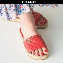 CHANEL Platform Blended Fabrics Chain Leather Elegant Style