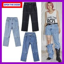OPEN THE DOOR Unisex Denim Street Style Plain Oversized Jeans