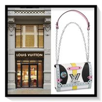 Louis Vuitton Casual Style Blended Fabrics 2WAY Chain Leather Handbags