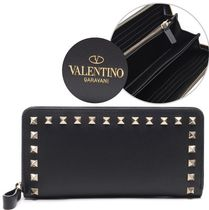 VALENTINO VLTN Studded Plain Leather Long Wallets
