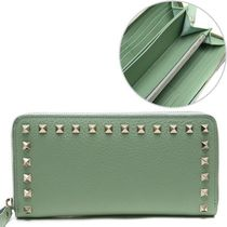 VALENTINO VLTN Unisex Calfskin Studded Plain Leather Long Wallets