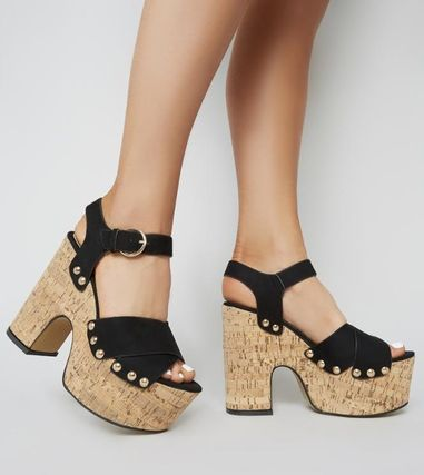 Open Toe Casual Style Suede Chunky Heels Heeled Sandals