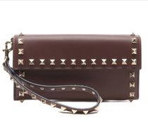 VALENTINO Studded Chain Plain Leather Long Wallets