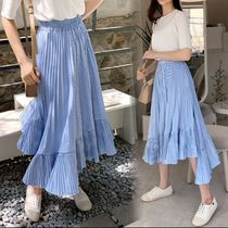 Stripes Casual Style Pleated Skirts Cotton Long Maxi Skirts