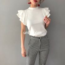 Short Plain High-Neck Puff Sleeves Cropped