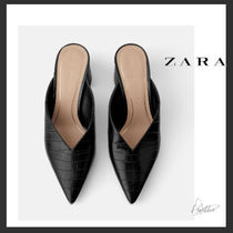ZARA Plain Other Animal Patterns Block Heels Elegant Style