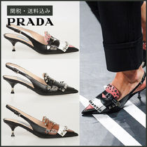 PRADA Studded Plain Leather Pin Heels Party Style Fringes