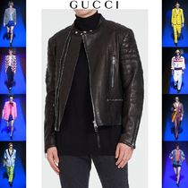 GUCCI Short Street Style Plain Leather Biker Jackets