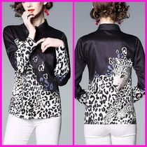Leopard Patterns Chiffon Long Sleeves Medium Elegant Style