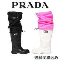 PRADA Rubber Sole Blended Fabrics Plain Leather Flat Boots