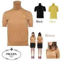 PRADA Casual Style Wool Plain Medium Short Sleeves Turtlenecks