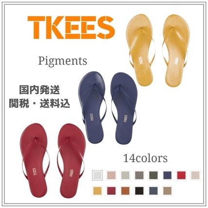 Open Toe Casual Style Street Style Plain Leather Flip Flops