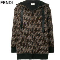 FENDI Monogram Long Sleeves Cotton Hoodies & Sweatshirts