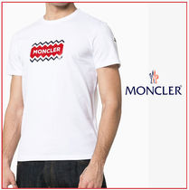 MONCLER Crew Neck Stripes Unisex Street Style Cotton Short Sleeves