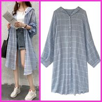 Other Check Patterns Casual Style Medium Midi Outerwear