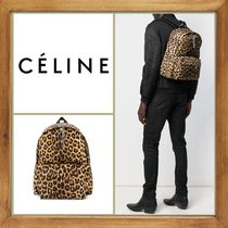 CELINE Leopard Patterns A4 2WAY Leather Backpacks