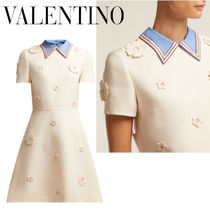 VALENTINO Short Flower Patterns A-line Wool Short Sleeves
