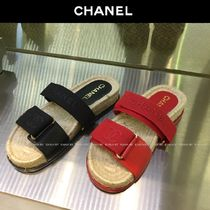 CHANEL Platform Blended Fabrics Plain Slippers Logo