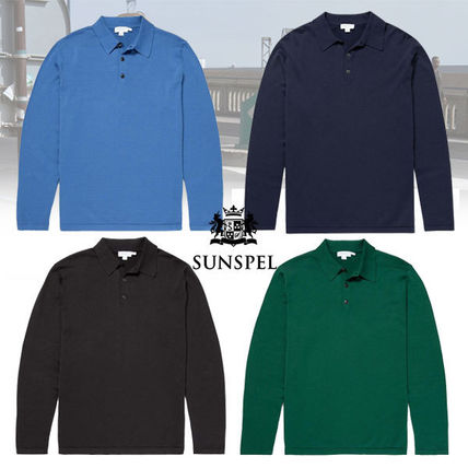 Pullovers Long Sleeves Plain Cotton Polos