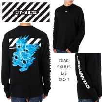 Off-White Skull Street Style Long Sleeves Cotton Long Sleeve T-Shirts
